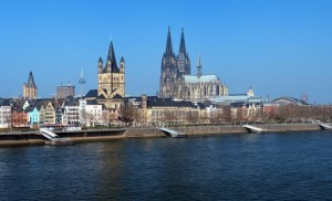 View on Cologne from the Rhine river, Germany